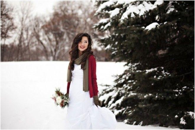 Red Cardigan in Snow | Wedding Inspiration