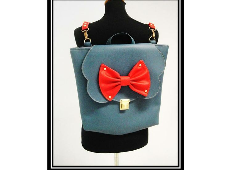 Perfect Captain (Backpack & Messenger bag) Size:H 40cm x W 43cm Navy Blue Faux Leather/Red Faux Leather Bow.