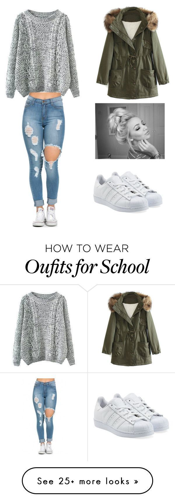 School outfit✏ by moderngirl2000 on Polyvore featuring adidas Originals, WithChic, womens clothing, women, female, woman, misses and juniors