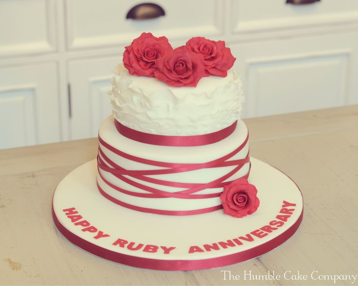 Ruby Wedding Anniversary cake by The Humble Cake Company, Northumberland. Featured a moist vanilla sponge bottom tier and a lush red velvet top tier.