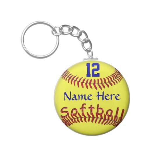 "Cheap Personalized Softball Team Gift Ideas with your NAME NUMBER Keychains. Great Softball Gifts for Players and the TEAM will love seeing their NAME and NUMBER on each and every one of the Softball Keychains.  Cool glassy looking ""Softball"" word nestled into the softball thread laces."