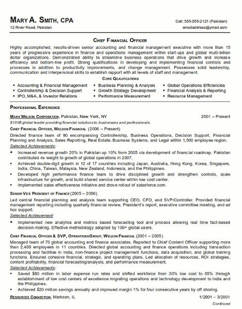 12 best Resume Examples 2013 images on Pinterest Resume examples - chief financial officer resume