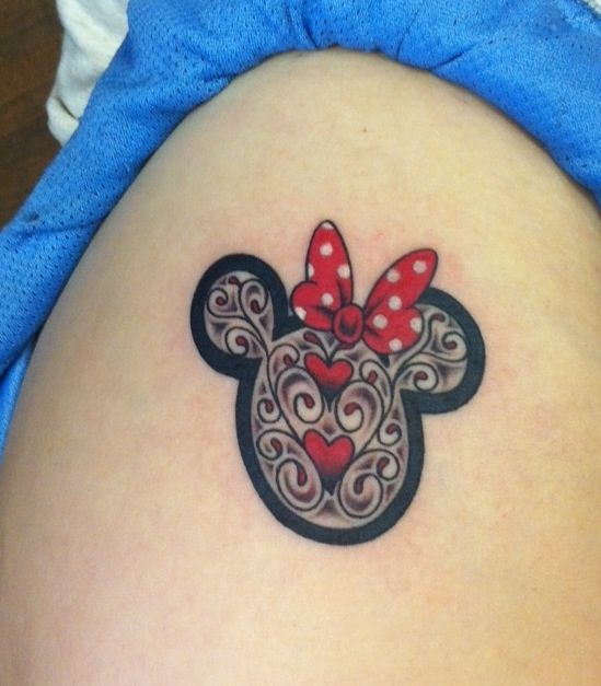 disney tattoo - I love the detail! I'd get it but put a princess crown on the top instead of a bow.