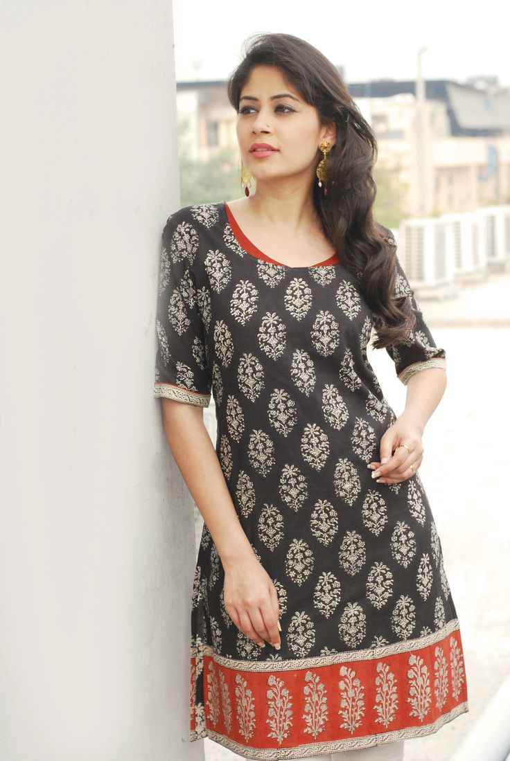 #black #printed #kurta with #red #border #Fabindia