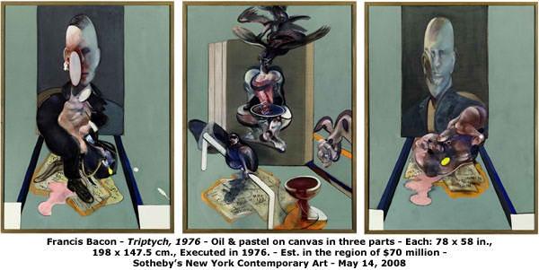 Triptych  ist ein dreiteiliges Gemälde von Francis Bacon. 2010 zahlte der russische Oligarch Roman Abramowitsch bei einer Auktion von Sotheby's 86,3 Millionen Dollar.