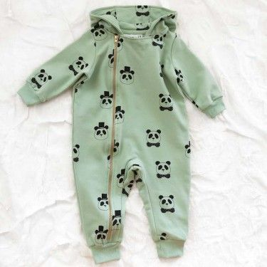 mini organic panda jumpsuit