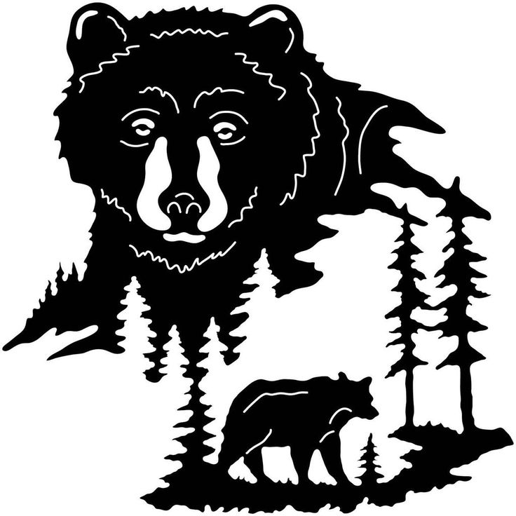Bear Face And Trees Dxfforcnc Com Dxf Files Cut Ready