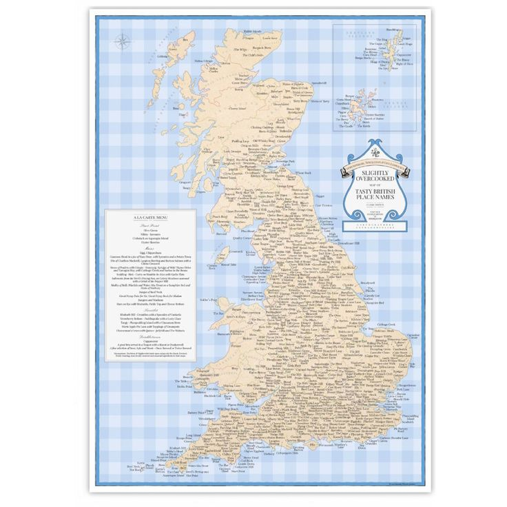 Featuring nearly 700 Great British tenuously food-and-drink-related place  names, ST&G's Slightly Overcooked Map of Tasty British Place Names is the  perfect kitchen wall accessory or gift for unashamed foodies.  More Tea, Mr. Tincleton?  From Teapot in Stirling to Greedy Gut in Yorkshire, from Water-Ma-Trout in  Cornwall to Rumblings in the Shetland Islands, Great Britain is not exactly  starved of gastronomically-themed place names. For the first time in  history, this little-known but…