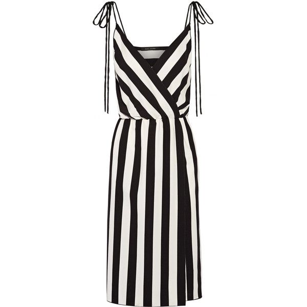 Marc Jacobs Wrap-effect striped crepe dress (€325) ❤ liked on Polyvore featuring dresses, day dresses, pattern dress, wrap dress, below the knee dresses, white striped dress and print wrap dress