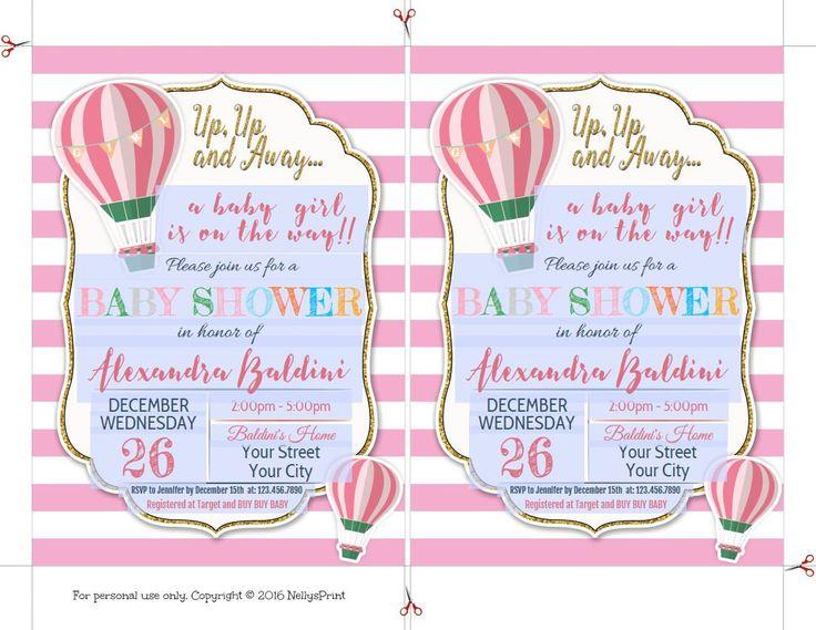 Hot Air Balloon Baby Shower Invitations, Hot Air Balloon Baby Shower, Baby  Shower Invitation