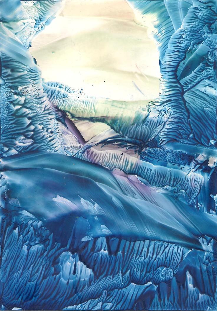 Blue Encaustic art wax fantasy landscape painting.