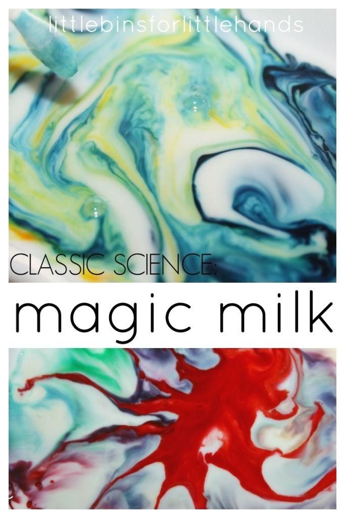 Magic Milk Classic Science Experiment for toddler, preschool, and kindergarten science activities.