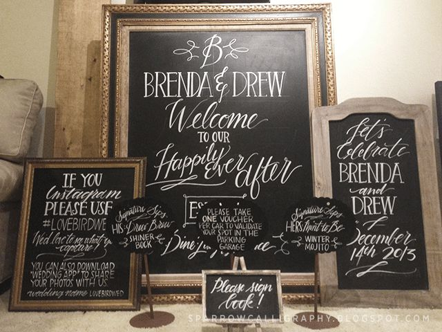 This wedding chalk art is a nice expample of the lively lettering by Sparrow Calligraphy.