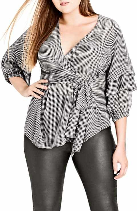 567f38f2cb3 City Chic My Desire Check Print Wrap Top (Plus Size)