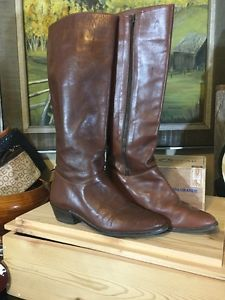 Women's Land End Italy 7.5 B Cognac Brown Full Zip Riding Boots   | eBay