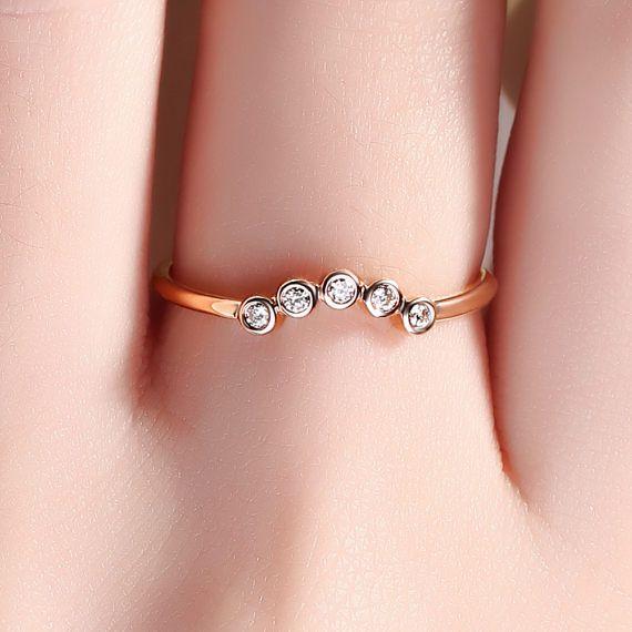 Gebogene Diamant-Ring Wedding Band Chevron Ring kleine