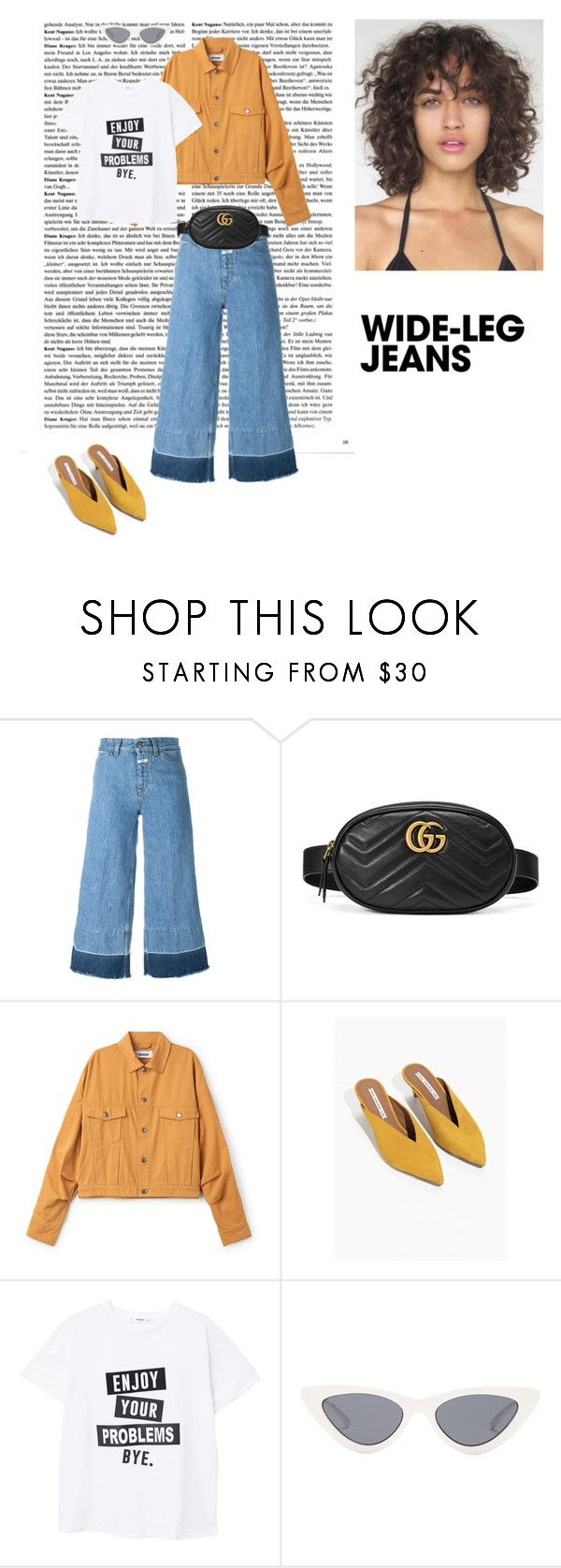 """06/03"" by dorey on Polyvore featuring Closed, Gucci, MANGO, Le Specs, casual, yellow, lazy, mustard and wideleg"