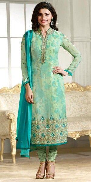 Prachi Desai In Blue Georgette Straight Suit With Dupatta.