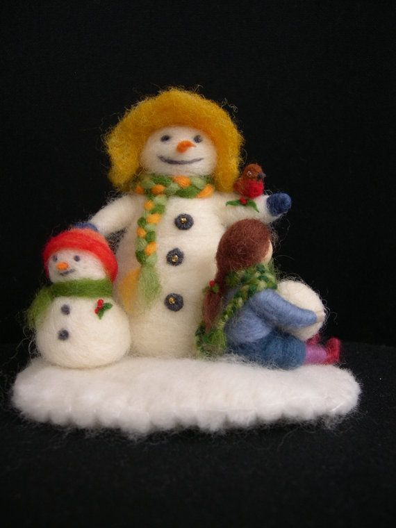 Winter Snowman Needle Felted Scene with Snowman by careybrett