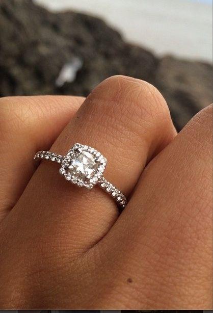 Ritani French-Set Cushion Halo Engagement Ring | #RitaniPinterest #Wedding