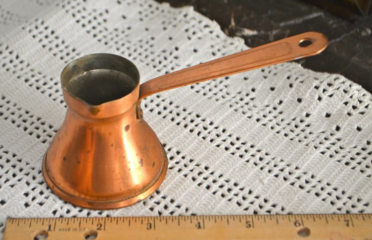 Copper Ladel Dipper  Chocolate Pot or Vintage Turkish Coffee Pot with Long handle Dipper by StudioVintage on Etsy