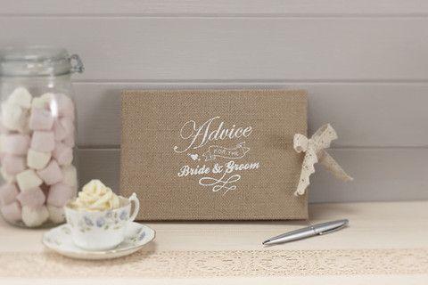'A Vintage Affair' Bride & Groom Wedding Advice Book -Take advice from your #wedding guests in this cute hession burlap Bride & Groom Advice Book - Cadeaux.ie #weddingideas #weddingplanning