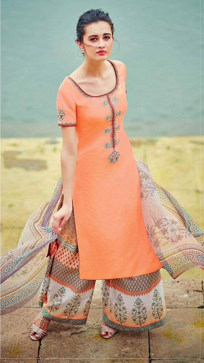 Apricot #Cotton #Palazzo #Pant #Suit  #nikvik  #usa #designer #australia #canada #freeshipping #kamiz