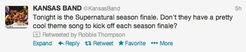 Guys, Kansas tweeted about Supernatural on the finale night!!