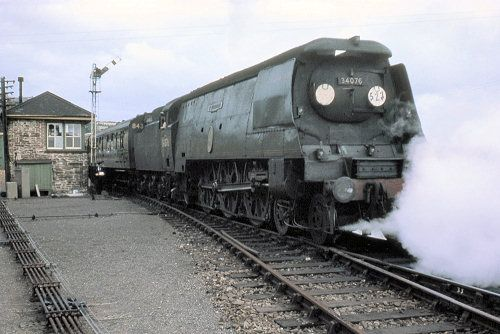 Bulleid light pacific Nº34076 41 Squadron and train pulling out of Padstow station, thought to be during July or August 1964.