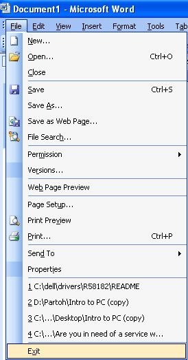 Using The File Menu In Ms Word 2003