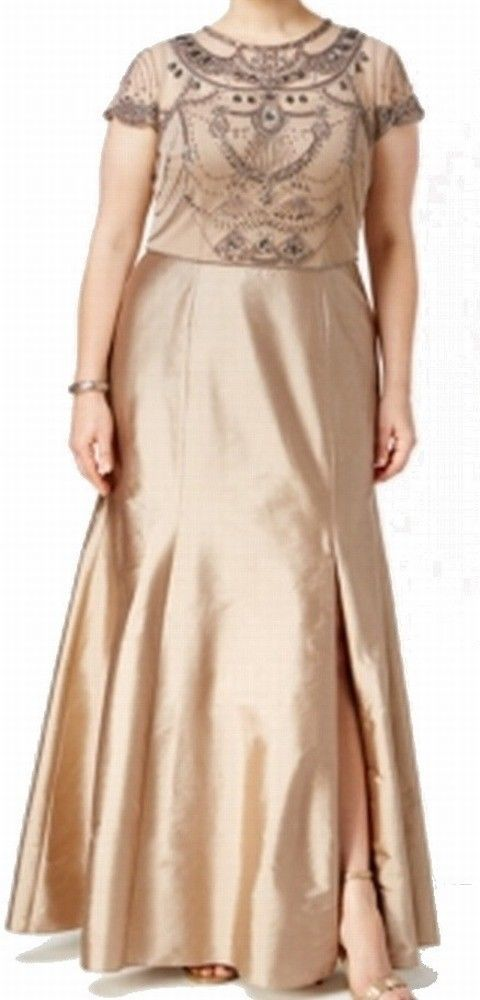Adrianna Papell NEW Beige Women\'s 20W Plus Beaded Ball Gown Dress ...