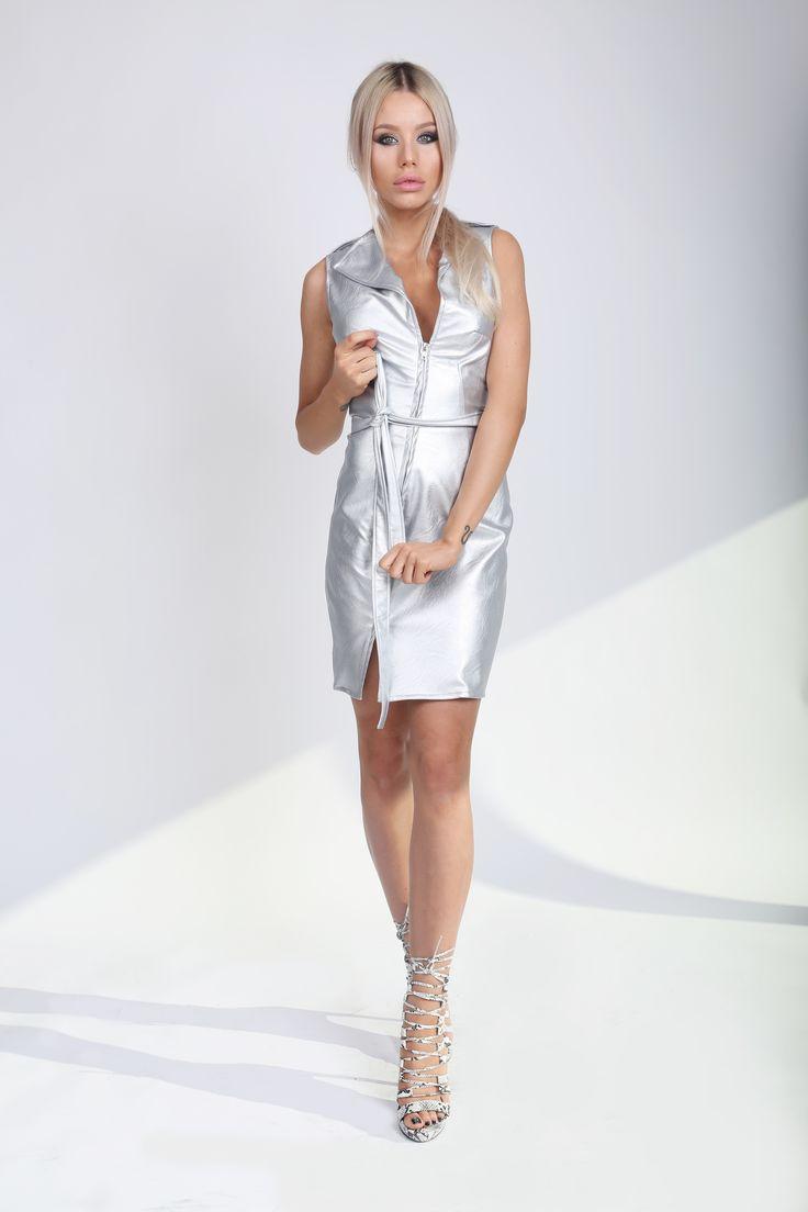 Metallic Silver Dress! Eco Leather Dress http://www.noire.ro/product/metallic-silver-leather-dress/