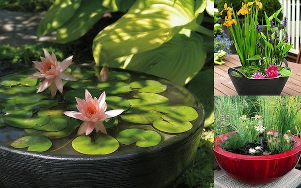 Mini Gartenteich bauen - kleine Oasen im Garten oder auf dem Balkon  - http://freshideen.com/gartengestaltung/gartenteich-bauen.html