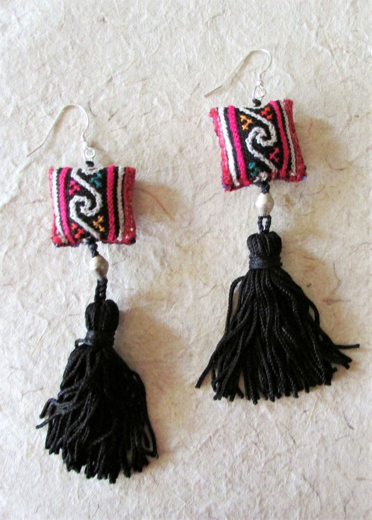 Black Red Long Earrings, Tassel Jewelry
