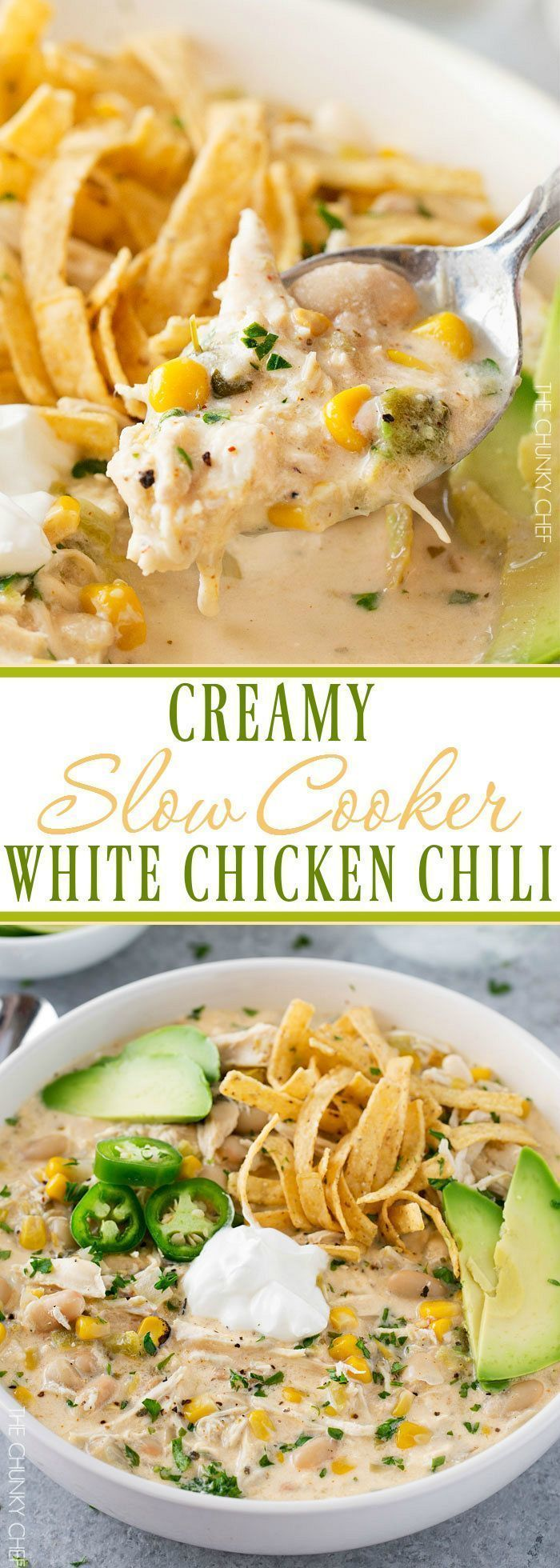 Slow Cooker Creamy White Chicken Chili | This creamy white chicken chili is made easy in the slow cooker, and has just the right amount of spice to warm up your night! | thechunkychef.com