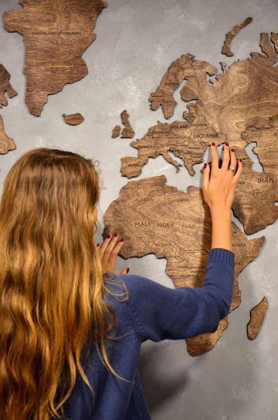 Hölzerne Karte große Weltkarte der Wand Leinwand Druck Kunst