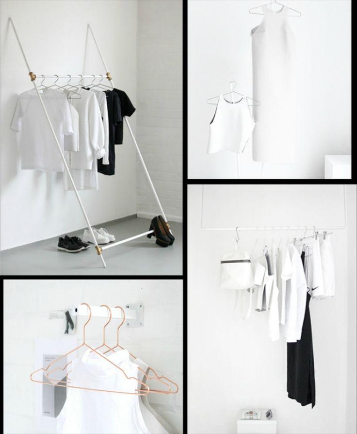 Popular kleiderstange kleiderschrank minimalistisch diy weiss schwarz kreativ bekleidung