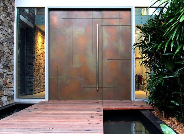 Routed Crosshatch Door - Bronze Smooth Pearl