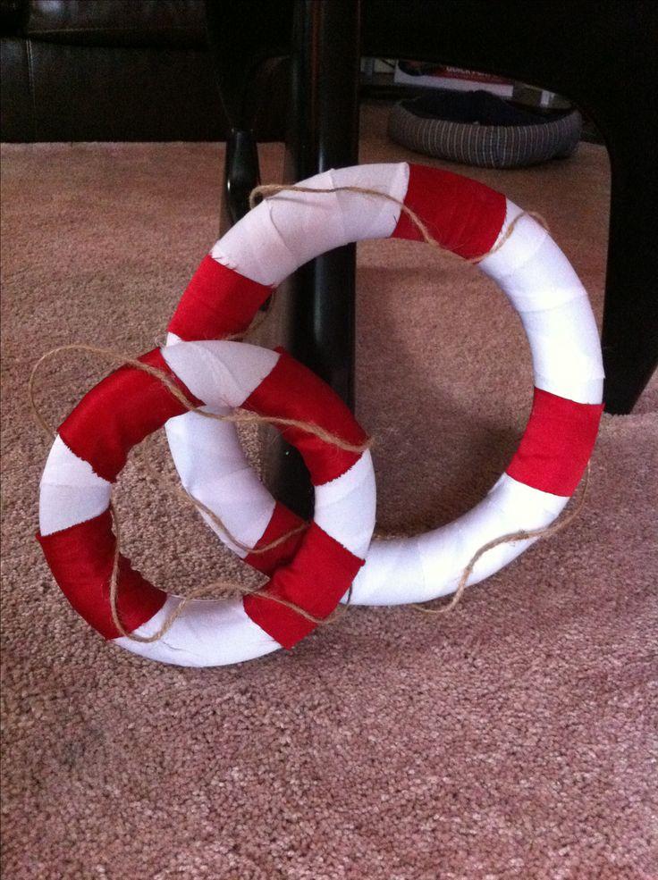 Homemade lifesavers for nautical party
