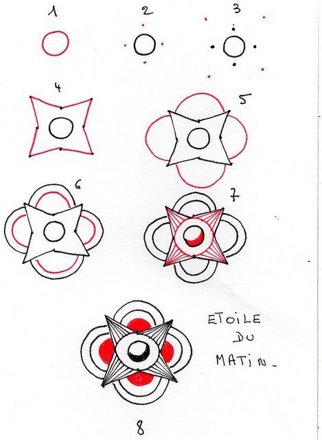 zentangle: Doodles How To, Zentangle Patterns Ideas, Zentangle Patternsidea, Tangled Patterns, Doodles Tutorials, Cool Patterns, Zentangle Step, Du Matin, Zentangle Tutorials