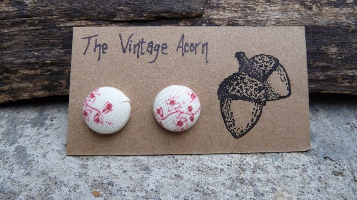 Cherry Blossom Button Earrings. $6.00, via Etsy.