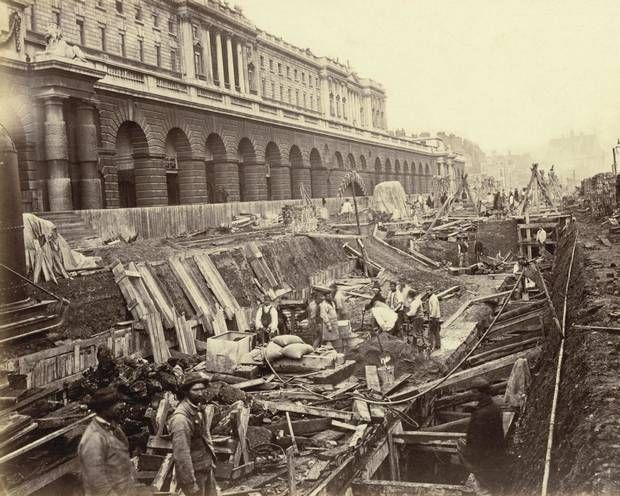District line construction outside Somerset House in 1869. The Embankment was opened on July 13 1870; the railway to Blackfriars completed on May 30 1870