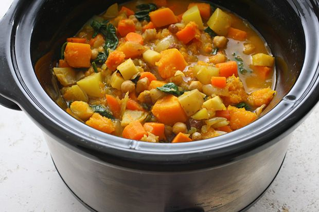 Slow Cooker Root Vegetable Stew Recipe (via Chow) - This is a perfect fall soup recipe.  My recommendation would be to use half the amount of raisins called for because the stew became super sweet after three hours.  This recipe ended up filling up my entire crockpot, so be aware of how much of each ingredient you add to the crockpot.