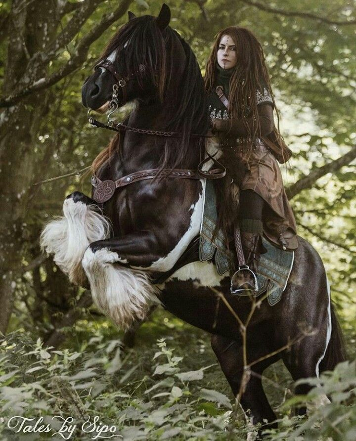 The horse reared, and the girl gripped its reins. A bird had flown into their path.
