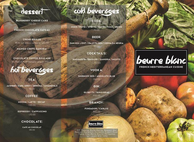 Beurre Blanc - Fine Dining Menu on Behance