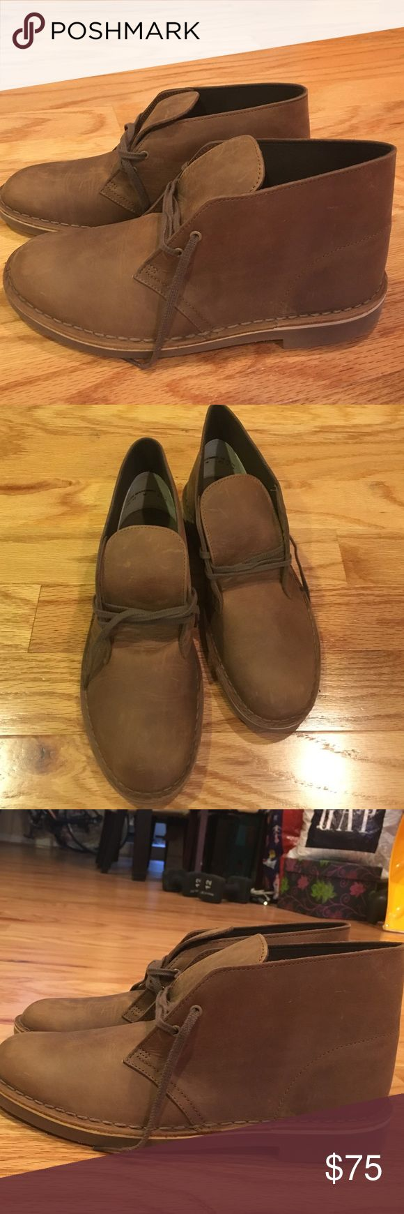 Brown UNWORN Clarks! Light brown men's Clarks. Never worn! They were a gift for my husband and were the wrong size. We couldn't return them! Great find! Clarks Shoes Mules & Clogs