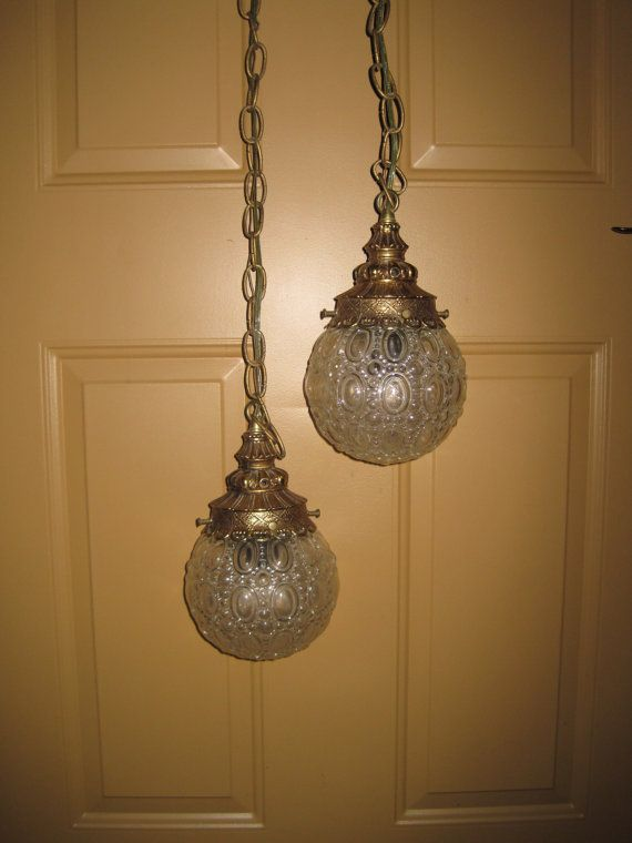 Round Gl Globe Double Pendant Light Hanging Vintage Swag Fixtures Pinterest Lighting And