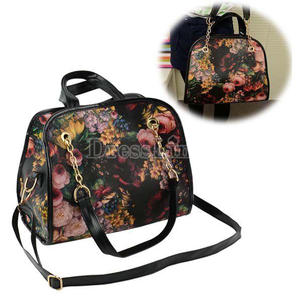 New Retro Women's Girl Printing Briefcase Handbag Cross-Body Shoulder Bag