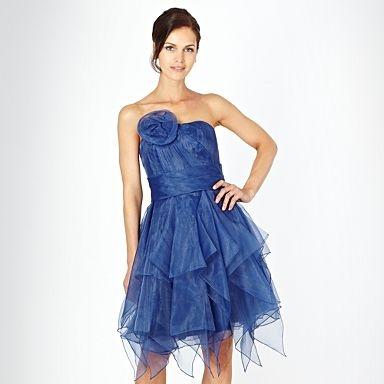 Dark blue ruffled organza bandeau dress