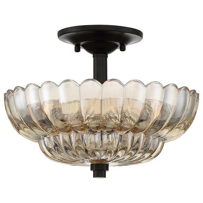 Scalloped amber glass semi flush ceiling light